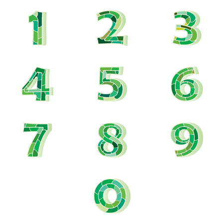 Numbers set of green pattern or look like green python pattern.