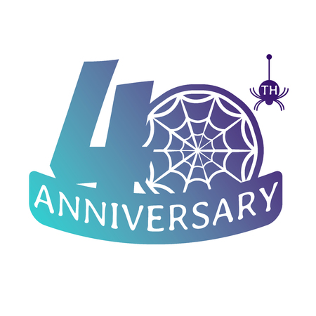 40 years anniversary vector icon with spider web pattern.