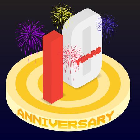 numero diez: Anniversary icon design by isometric.