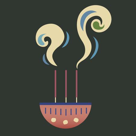 향 지팡이 검은 배경에 향 냄비에 굽기. 향을 피우는 동안의 연기는 타당합니다. 르네상스 테마 색상.