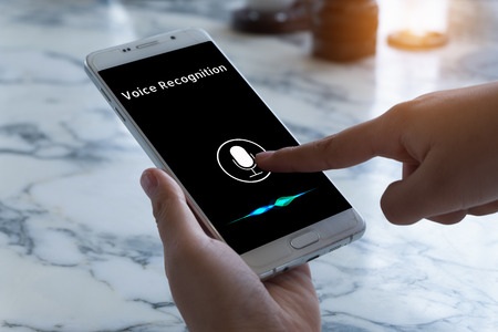 Voice recognition , speech detect and deep learning concept. Application on mobile phone screen. 스톡 콘텐츠