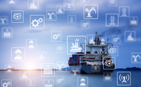 Cargo ship Sending goods to destination with sunlight at horizon. Industrial icon pattern.