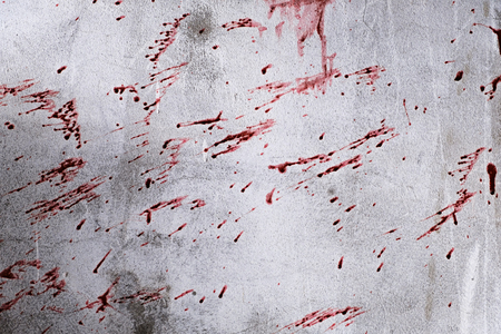 Dirty wall with blood from murder in abandoned building. Murder and Halloween concept.