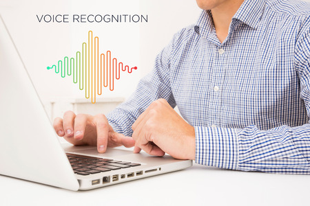 Voice recognition, Speech detect and deep learning concept.