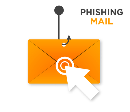 Phishing E-mail with mouse's arrow clicked icon isolate white background. Illustration
