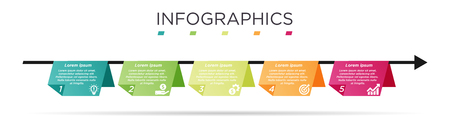 Business Info graphic template. Paper design with numbers 5 options or steps. Illustration