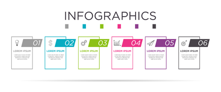Business Info graphic template. Card design with label 6 steps or 6 options. Illustration