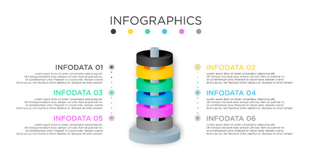 Business Info graphic template. Cylinder design with label 6 titles.