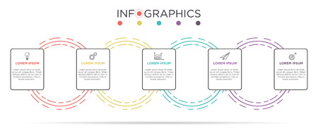 Business Info graphic template. Card design with label 5 steps or 5 options.