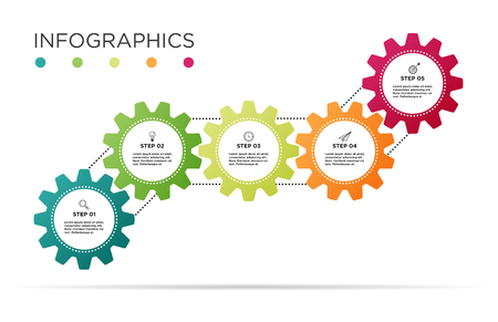Business Info graphic template. Industry gear design with 5 icons. Standard-Bild - 127723223