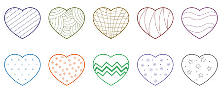 Ten colorful heart pattern isolated with white background. Stock Illustratie