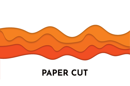 3D abstract orange wave background with paper cut shapes. Vector design layout for business presentations, flyers, posters.