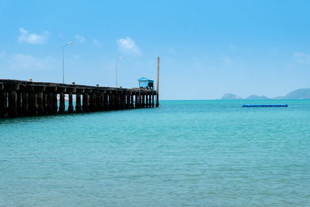 Fishing piers and blue sea in Thailand.