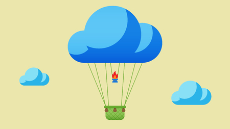 Flat design, Hot air balloon in the sky with cloud background.