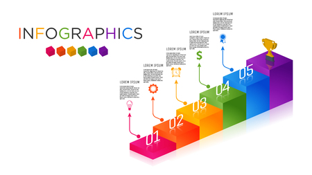 Business Infographic template. Staircase design for 5 labels. Template for presentation. Full-color shade label graphic.