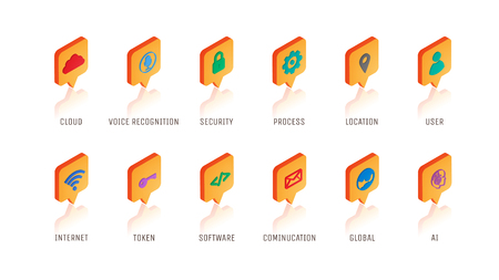 Isometric technology icon with many concept such as Cloud, Security, Internet, etc. 3D graphic internet and technology icon.