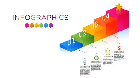 Business Infographic template. Staircase design for 4 labels. Template for presentation. Full-color shade label graphic.