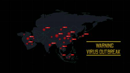 Dangerous viruses outbreak worldwide. Map show virus outbreak and number of infected.