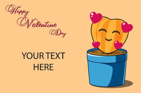 Valentine Card Template for insert your idea text. Yellow smile heart on the blue pot.
