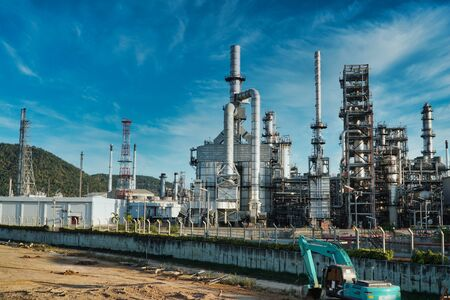Petrochemical industry on blue sky, Power plant, Energy power station area.