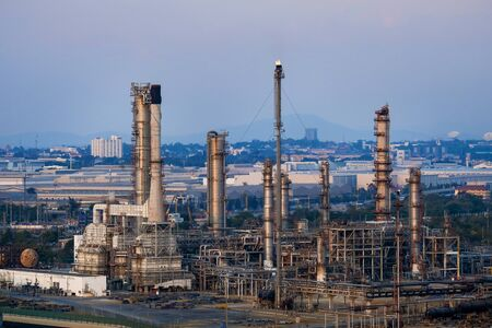 Petrochemical industry area. Petrochemical industry on Twilight sky, Energy power station area.