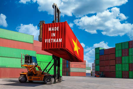Trade war, Made in USA smart logistic concept. Shipping Cargo business Container import and export company for Logistics and Transportation. Factory move from USA.