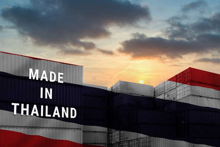 Trade war, Made in THAILAND smart logistic concept. Shipping Cargo business Container import and export company for Logistics and Transportation. Factory move from THAILAND.