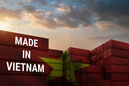 Trade war, Made in VIETNAME smart logistic concept. Shipping Cargo business Container import and export company for Logistics and Transportation. Factory move from VIETNAME Standard-Bild