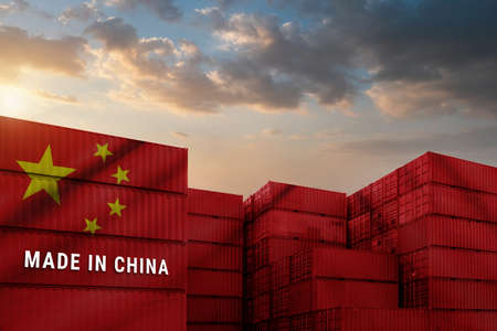 Trade war, Made in CHINA smart logistic concept. Shipping Cargo business Container import and export company for Logistics and Transportation. Factory move from CHINA. Standard-Bild