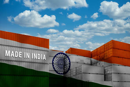Trade war, Made in INDIA smart logistic concept. Shipping Cargo business Container import and export company for Logistics and Transportation. Factory move from INDIA.