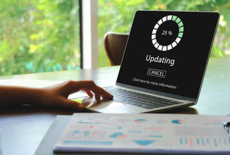 Updating software for a smart device. HUD of Updating the Operating system and show the process of update. Standard-Bild