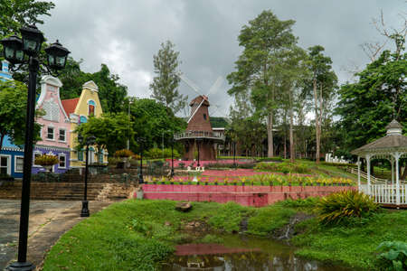 RAYONG, THAILAND - JULY 26, 2020: Flower garden in Strawberry Town. Editorial