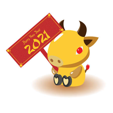 Happy chinese new year 2021. Ox Zodiac sign. Element for greeting card or flyers or poster. Illustration
