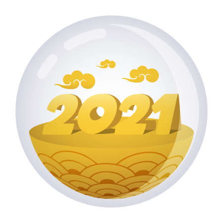 Happy New Year elegant design of 2021 logo numbers. Gold color theme in the see through orb.