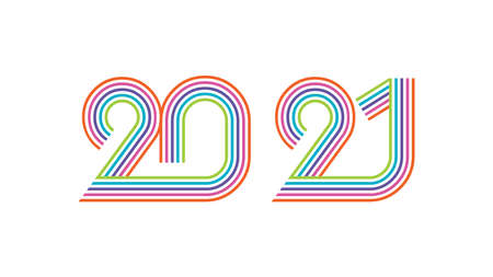 2021 Happy New Year elegant design. Graphic of golden 2021  numbers on white background. Colorful line typography for 2021 designs and new year celebration.