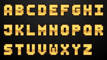 Set of Elegant Gold Color letter font. Typography golden letter set for  Poster, Invitation. Vector illustration.