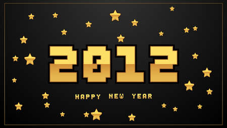 Luxury pixel 2021 Happy New Year elegant design. Graphic of golden 2021  numbers on black background. Gloden typography for 2021 designs and new year celebration.