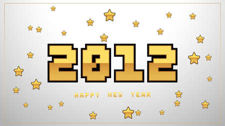 Luxury pixel 2021 Happy New Year elegant design. Graphic of golden 2021  numbers on shiny silver background. Gloden typography for 2021 designs and new year celebration.