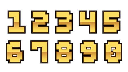 Set of Elegant Gold Color number font. Typography golden number set for   Poster, Invitation. Vector illustration.