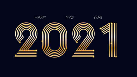 Luxury 2021 Happy New Year elegant design. Graphic of golden 2021  numbers on Black background. Gloden typography for 2021 designs and new year celebration.