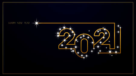 Luxury 2021 Happy New Year elegant design. Graphic of golden 2021 numbers on Black background. Golden typography for 2021 designs and new year celebration.