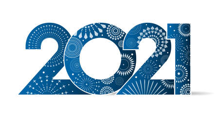 Vector illustration of fancy fireworks on text 2021.