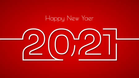 Happy new year 2021 creative greeting card design in flat style with shadow on red background. Illustration