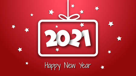 White paper cut in theme gift box 2021 New Year greeting card.