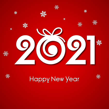 Beautiful text 2021 decorated with Xmas ball for Happy New Year celebrations. Illustration