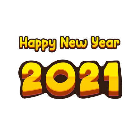 Happy new year 2021 creative element in flat style. Illustration