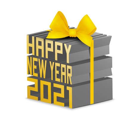 Happy new year 2021 creative element in 3D style.