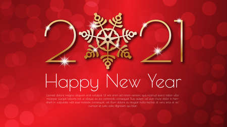 Happy New Year 2021 text design. Golden number and snowflake.