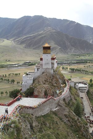 Ancient Buddhist monastery in the mountains of Tibet, China
