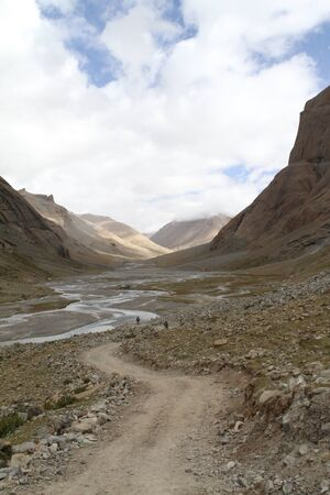 foothills of the Tibetan landscape  with mountains